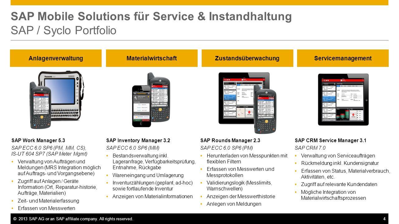 ©2013 SAP AG or an SAP affiliate company. All rights reserved.4 SAP Mobile Solutions für Service & Instandhaltung SAP / Syclo Portfolio Anlagenverwalt