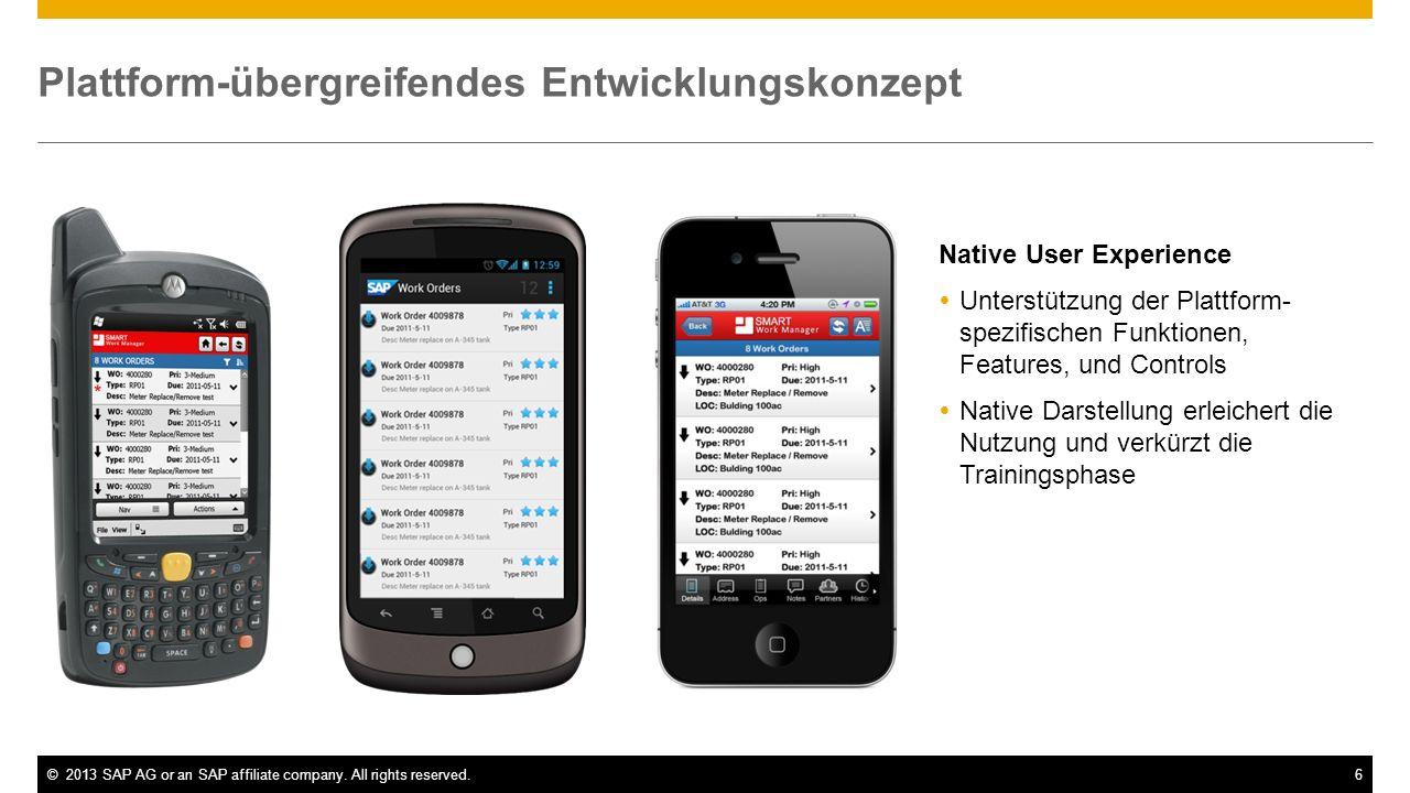 ©2013 SAP AG or an SAP affiliate company. All rights reserved.6 Native User Experience Unterstützung der Plattform- spezifischen Funktionen, Features,