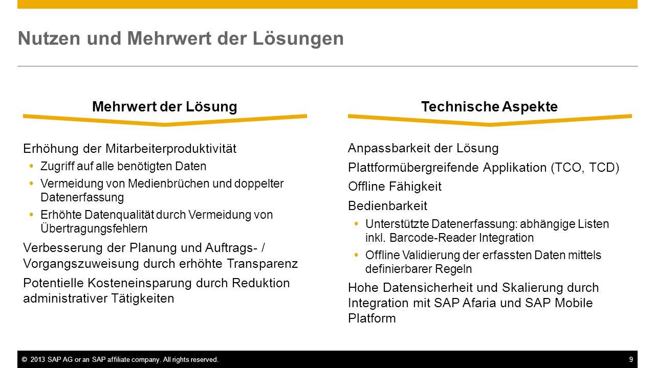 ©2013 SAP AG or an SAP affiliate company. All rights reserved.9 Nutzen und Mehrwert der Lösungen Mehrwert der Lösung Erhöhung der Mitarbeiterproduktiv