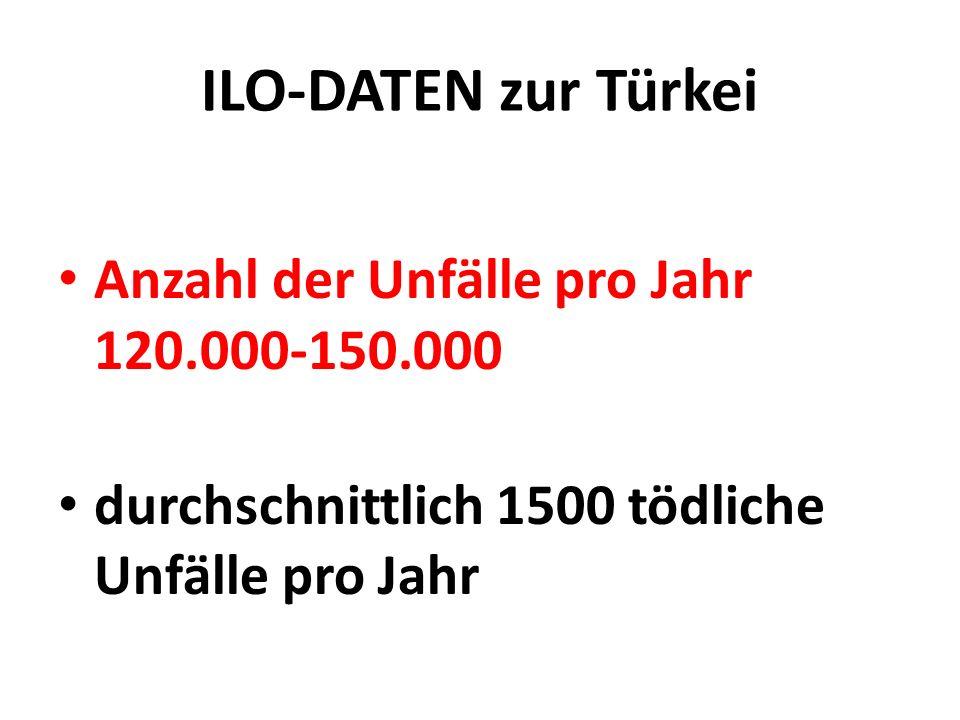 ILO-DATEN zur Türkei Anzahl der Unfälle pro Jahr 120.000-150.000 durchschnittlich 1500 tödliche Unfälle pro Jahr
