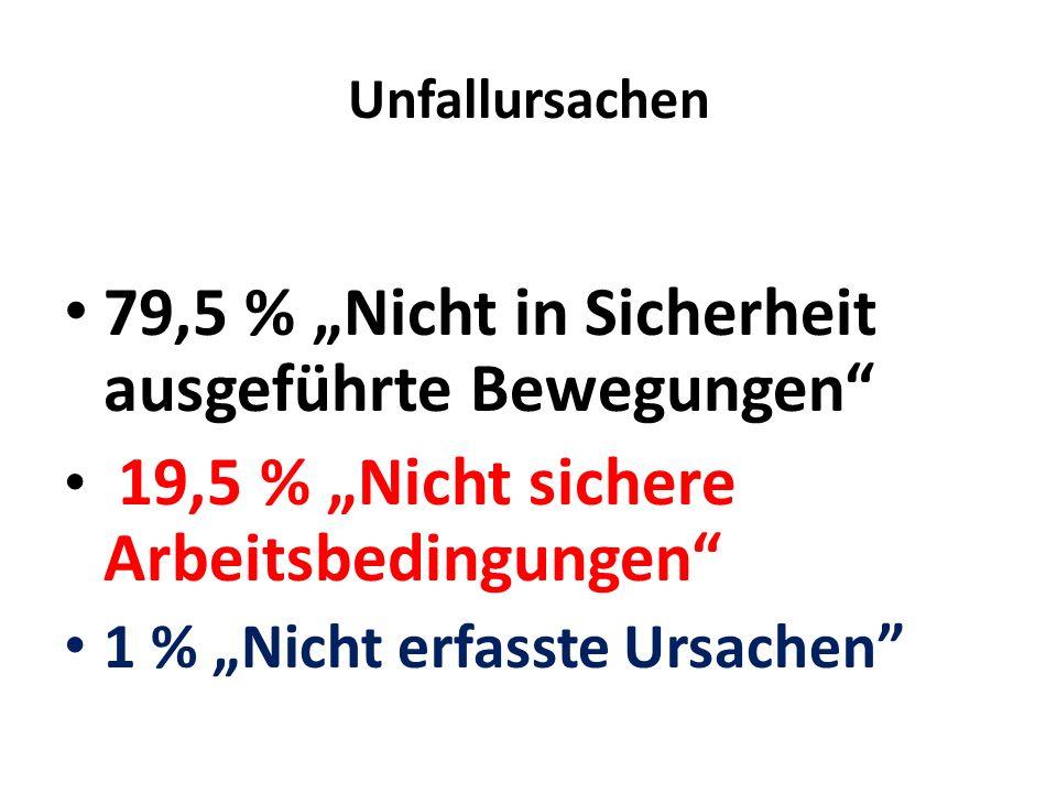Unfallursachen 79,5 % Nicht in Sicherheit ausgeführte Bewegungen 19,5 % Nicht sichere Arbeitsbedingungen 1 % Nicht erfasste Ursachen