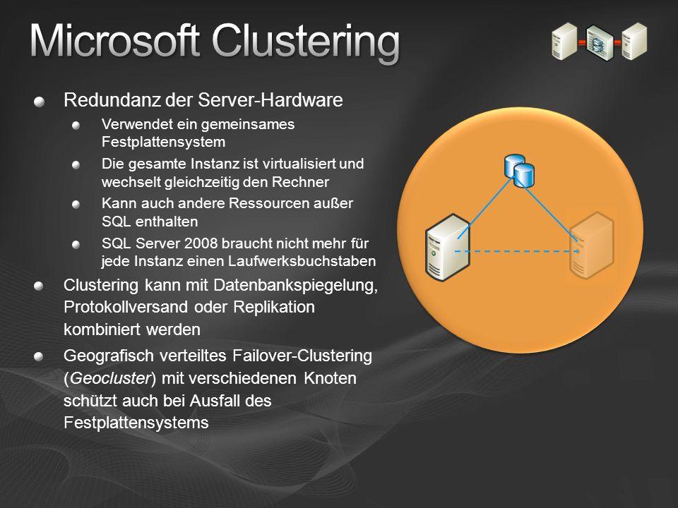 Redundanz der Server-Hardware Verwendet ein gemeinsames Festplattensystem Die gesamte Instanz ist virtualisiert und wechselt gleichzeitig den Rechner