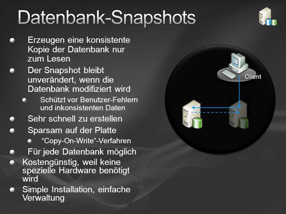 Erzeugen eine konsistente Kopie der Datenbank nur zum Lesen Der Snapshot bleibt unverändert, wenn die Datenbank modifiziert wird Schützt vor Benutzer-