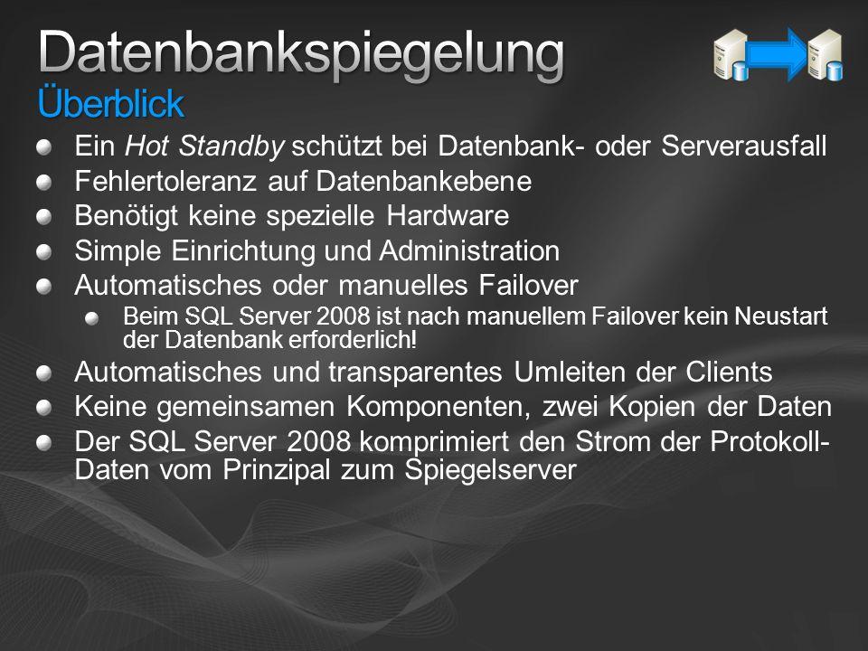 Ein Hot Standby schützt bei Datenbank- oder Serverausfall Fehlertoleranz auf Datenbankebene Benötigt keine spezielle Hardware Simple Einrichtung und A