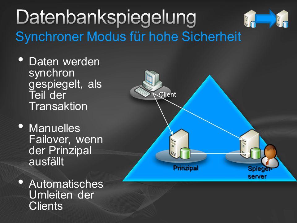 Prinzipal Spiegel- server Client Daten werden synchron gespiegelt, als Teil der Transaktion Manuelles Failover, wenn der Prinzipal ausfällt Automatisc