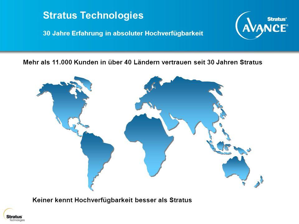 Stratus Technologies 30 Jahre Erfahrung in absoluter Hochverfügbarkeit Mehr als 11.000 Kunden in über 40 Ländern vertrauen seit 30 Jahren Stratus Kein