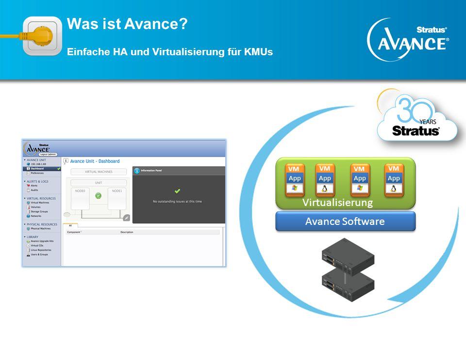 Avance Software Virtualisierung App VM App VM App VM App Was ist Avance? Einfache HA und Virtualisierung für KMUs