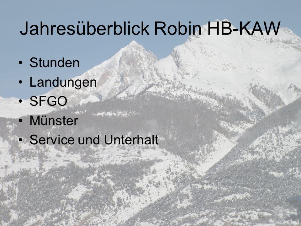Jahresüberblick Robin HB-KAW Stunden Landungen SFGO Münster Service und Unterhalt