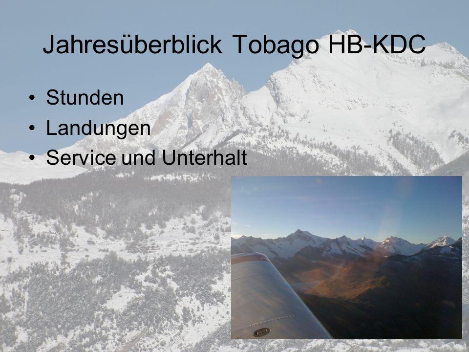Jahresüberblick Tobago HB-KDC Stunden Landungen Service und Unterhalt