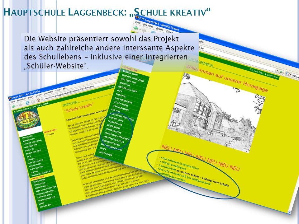 Die Website präsentiert sowohl das Projekt als auch zahlreiche andere interssante Aspekte des Schullebens – inklusive einer integrierten Schüler-Websi