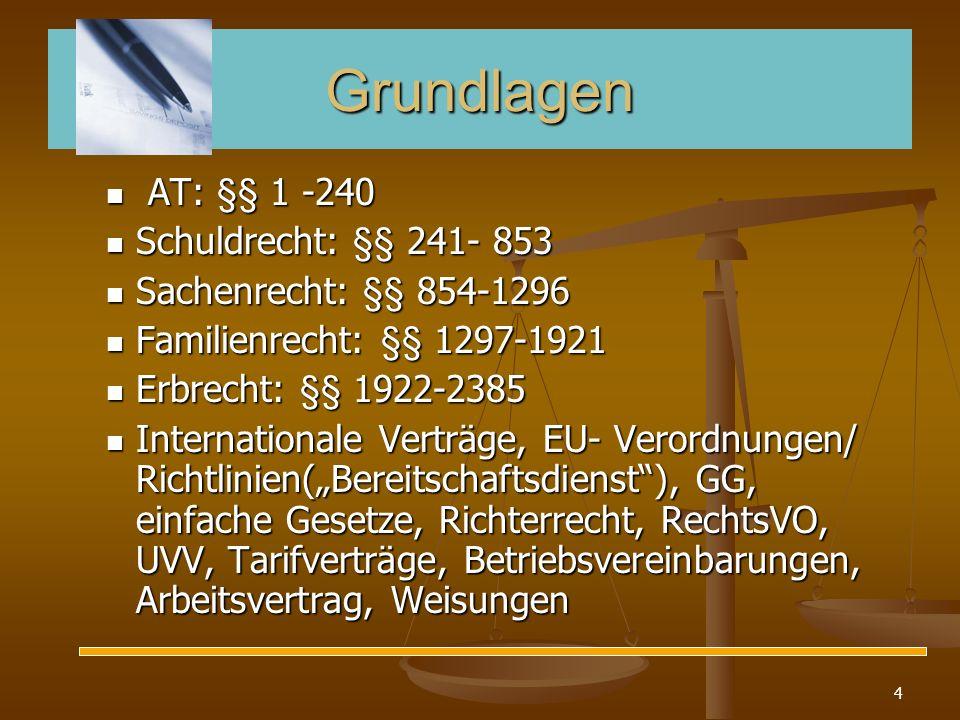 4 Grundlagen AT: §§ 1 -240 AT: §§ 1 -240 Schuldrecht: §§ 241- 853 Schuldrecht: §§ 241- 853 Sachenrecht: §§ 854-1296 Sachenrecht: §§ 854-1296 Familienr