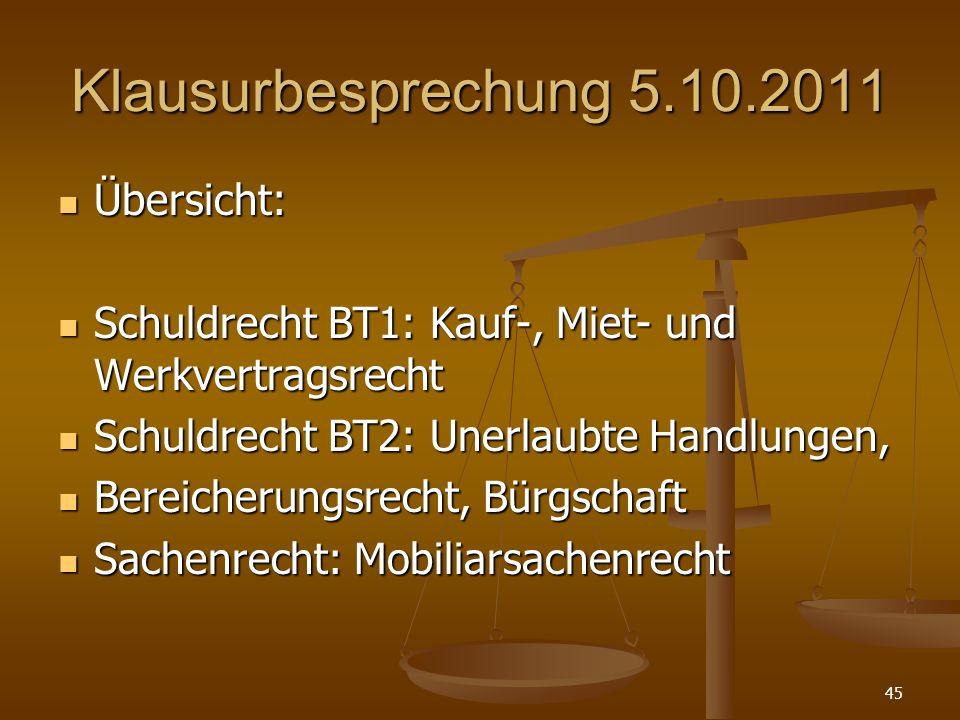 Klausurbesprechung 5.10.2011 Übersicht: Übersicht: Schuldrecht BT1: Kauf-, Miet- und Werkvertragsrecht Schuldrecht BT1: Kauf-, Miet- und Werkvertragsr