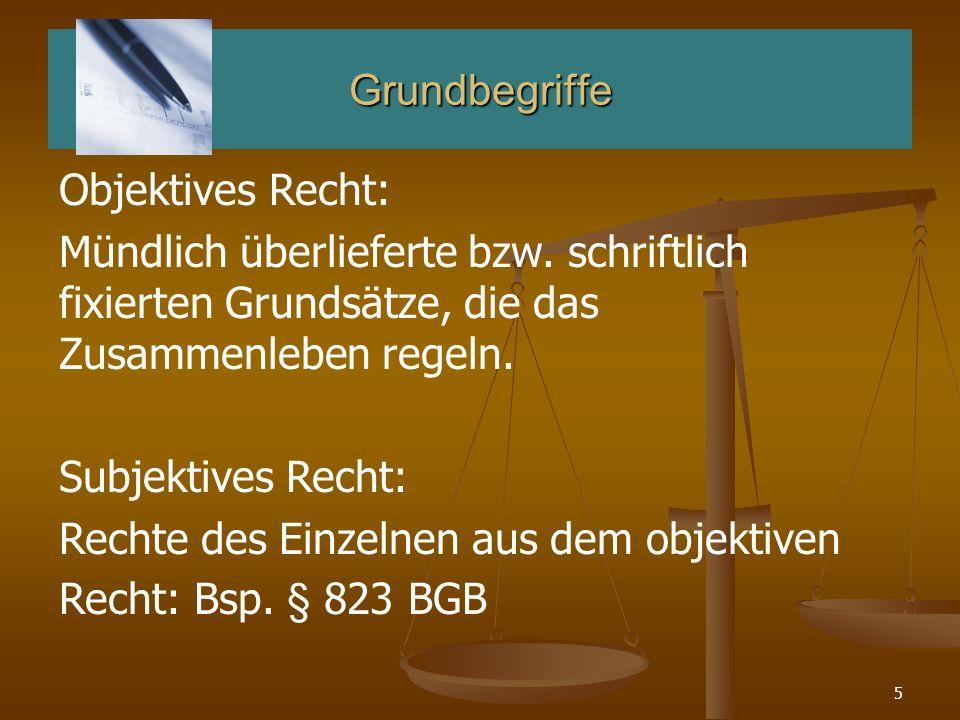 5 Grundbegriffe Objektives Recht: Mündlich überlieferte bzw. schriftlich fixierten Grundsätze, die das Zusammenleben regeln. Subjektives Recht: Rechte