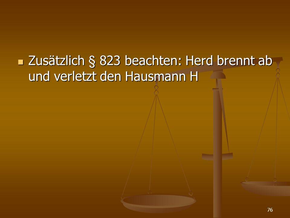 Zusätzlich § 823 beachten: Herd brennt ab und verletzt den Hausmann H Zusätzlich § 823 beachten: Herd brennt ab und verletzt den Hausmann H 76