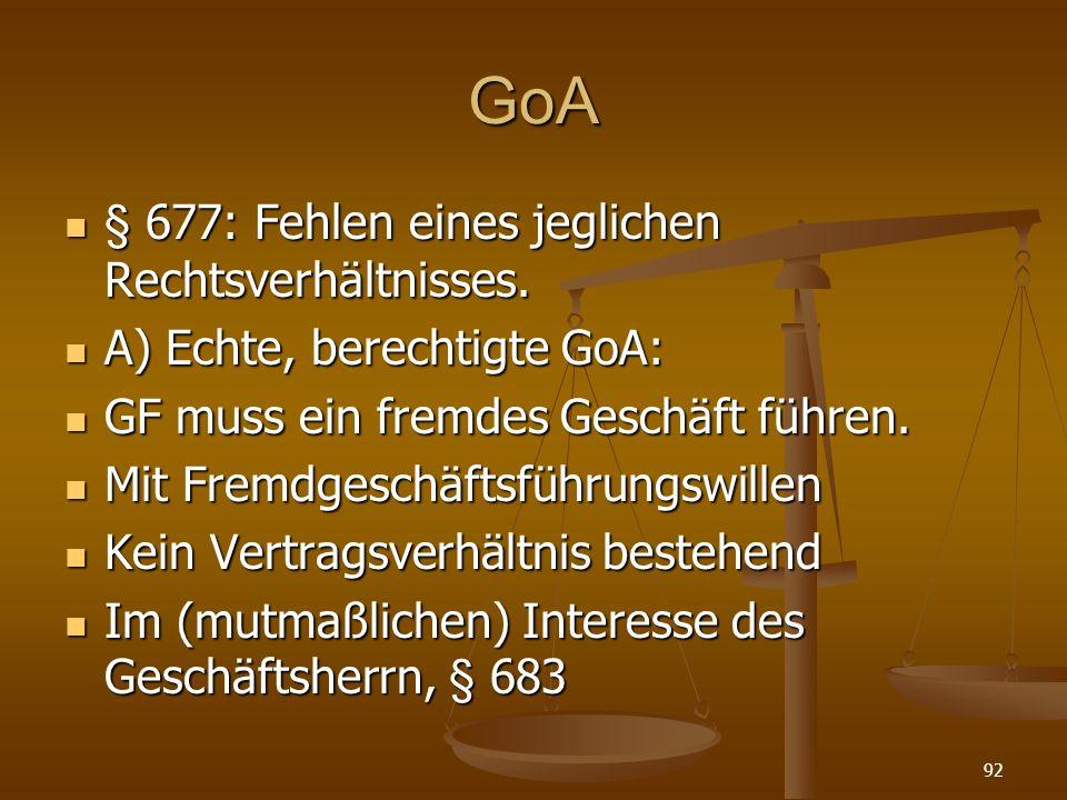 GoA § 677: Fehlen eines jeglichen Rechtsverhältnisses. § 677: Fehlen eines jeglichen Rechtsverhältnisses. A) Echte, berechtigte GoA: A) Echte, berecht