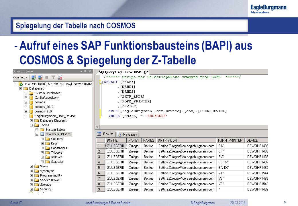 © EagleBurgmannGroup ITJosef Bromberger & Robert Steinke20.03.2013 14 Spiegelung der Tabelle nach COSMOS - Aufruf eines SAP Funktionsbausteins (BAPI)