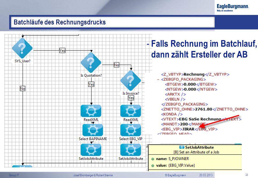 © EagleBurgmannGroup ITJosef Bromberger & Robert Steinke20.03.2013 23 Batchläufe des Rechnungsdrucks - Falls Rechnung im Batchlauf, dann zählt Erstell