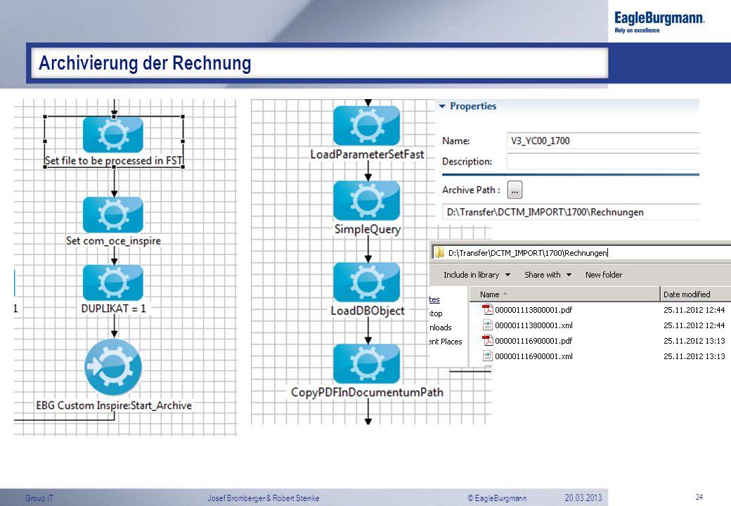© EagleBurgmannGroup ITJosef Bromberger & Robert Steinke20.03.2013 24 Archivierung der Rechnung