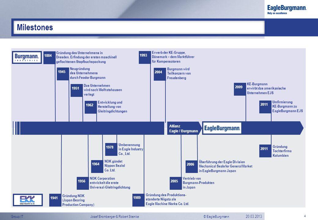 © EagleBurgmannGroup ITJosef Bromberger & Robert Steinke20.03.2013 4 Milestones Allianz Eagle / Burgmann 1884 Gründung des Unternehmens in Dresden. Er