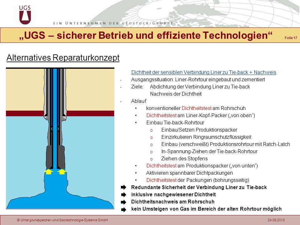 © Untergrundspeicher- und Geotechnologie-Systeme GmbH 24.09.2013 Alternatives Reparaturkonzept UGS – sicherer Betrieb und effiziente Technologien Dich