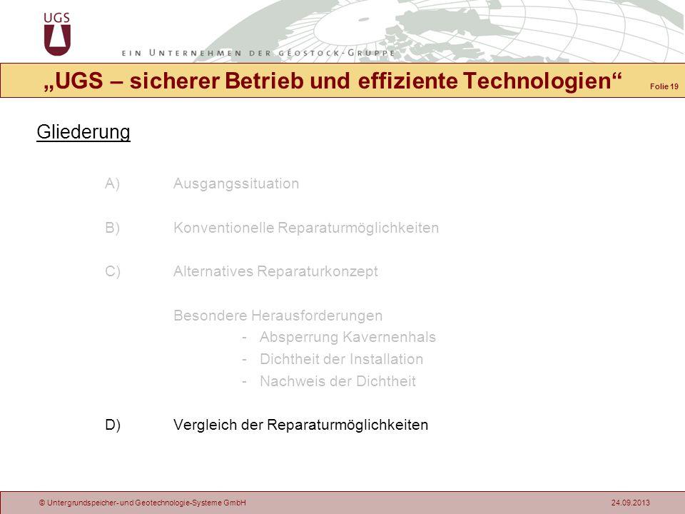 © Untergrundspeicher- und Geotechnologie-Systeme GmbH 24.09.2013 Gliederung A)Ausgangssituation B)Konventionelle Reparaturmöglichkeiten C)Alternatives