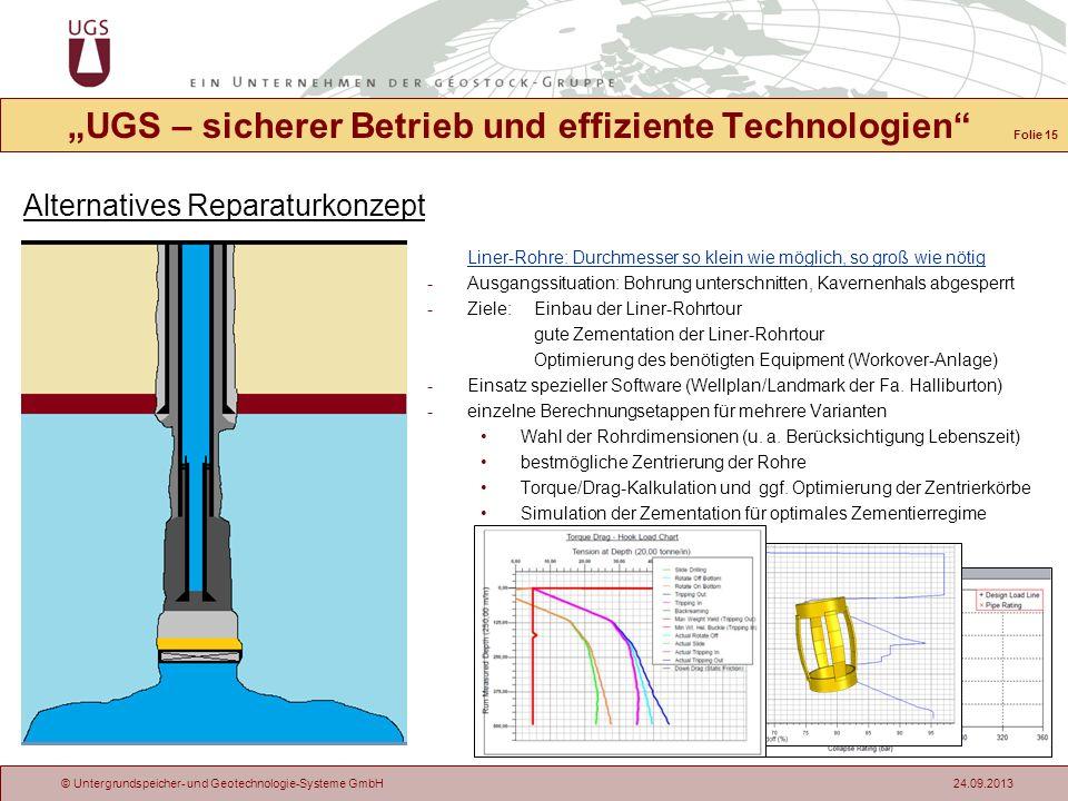 © Untergrundspeicher- und Geotechnologie-Systeme GmbH 24.09.2013 Alternatives Reparaturkonzept UGS – sicherer Betrieb und effiziente Technologien Line