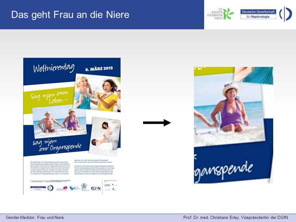 Gender-Medizin: Frau und Niere Prof. Dr. med, Christiane Erley, Vizepräsidentin der DGfN Das geht Frau an die Niere