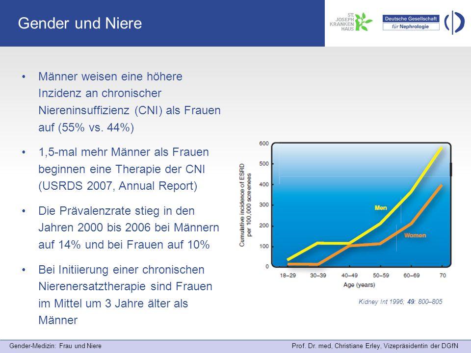Gender-Medizin: Frau und Niere Prof. Dr. med, Christiane Erley, Vizepräsidentin der DGfN Gender und Niere Männer weisen eine höhere Inzidenz an chroni