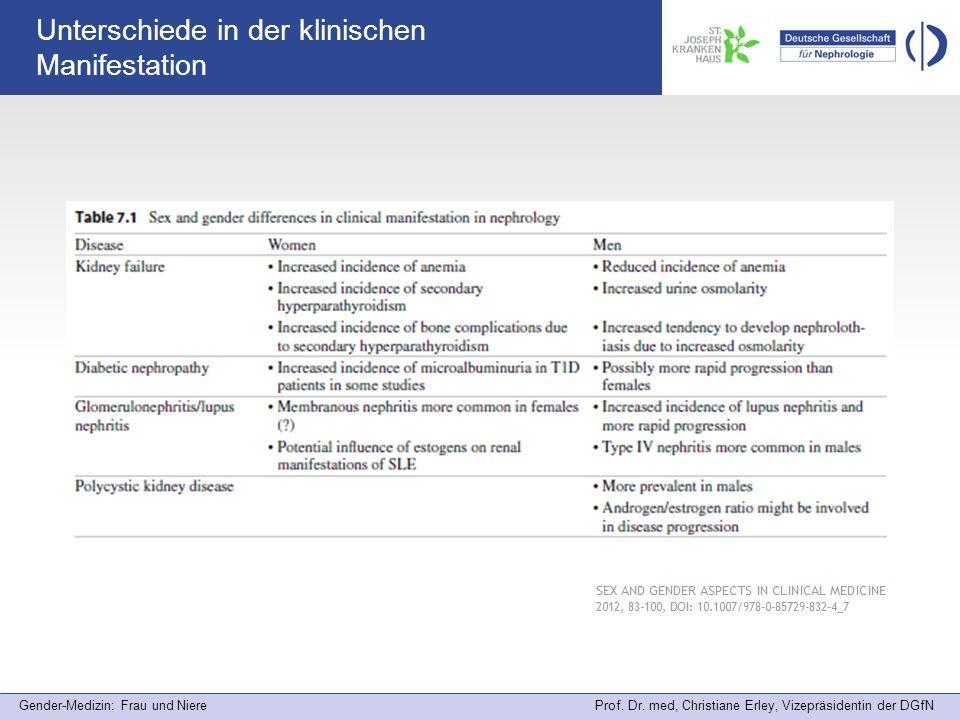 Gender-Medizin: Frau und Niere Prof. Dr. med, Christiane Erley, Vizepräsidentin der DGfN Unterschiede in der klinischen Manifestation