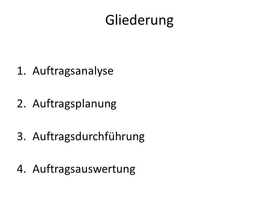 Gliederung 1.Auftragsanalyse 2.Auftragsplanung 3.Auftragsdurchführung 4.Auftragsauswertung