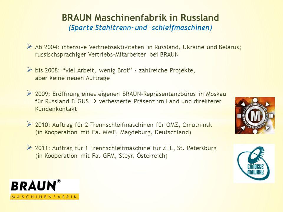 Ab 2004: intensive Vertriebsaktivitäten in Russland, Ukraine und Belarus; russischsprachiger Vertriebs-Mitarbeiter bei BRAUN bis 2008: viel Arbeit, we