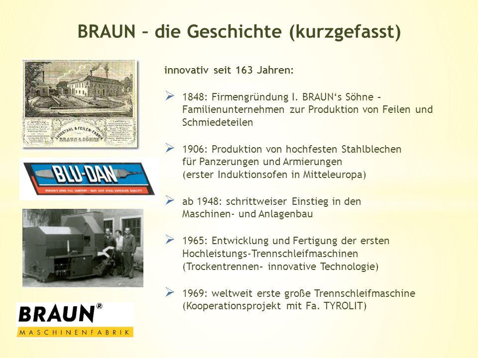 innovativ seit 163 Jahren: 1848: Firmengründung I. BRAUNs Söhne – Familienunternehmen zur Produktion von Feilen und Schmiedeteilen 1906: Produktion vo