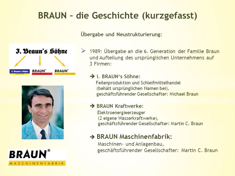 Übergabe und Neustrukturierung: 1989: Übergabe an die 6. Generation der Familie Braun und Aufteilung des ursprünglichen Unternehmens auf 3 Firmen: I.