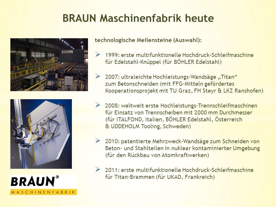 technologische Meilensteine (Auswahl): 1999: erste multifunktionelle Hochdruck-Schleifmaschine für Edelstahl-Knüppel (für BÖHLER Edelstahl) 2007: ultr