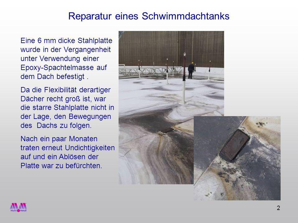 13 Reparatur eines Schwimmdachtanks MM-Elastomer 95 Dann wird das MM-Elastomer 95 aufgetragen und im letzten Arbeitsschritt das Kreppband entfernt.