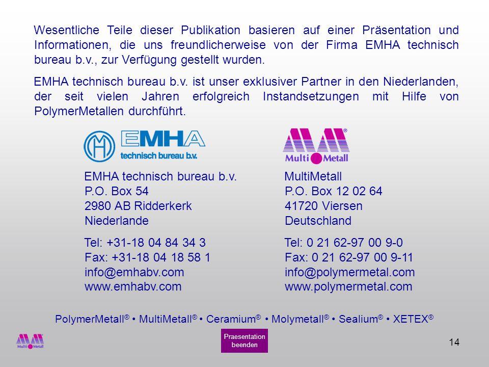14 PolymerMetall ® MultiMetall ® Ceramium ® Molymetall ® Sealium ® XETEX ® Wesentliche Teile dieser Publikation basieren auf einer Präsentation und In