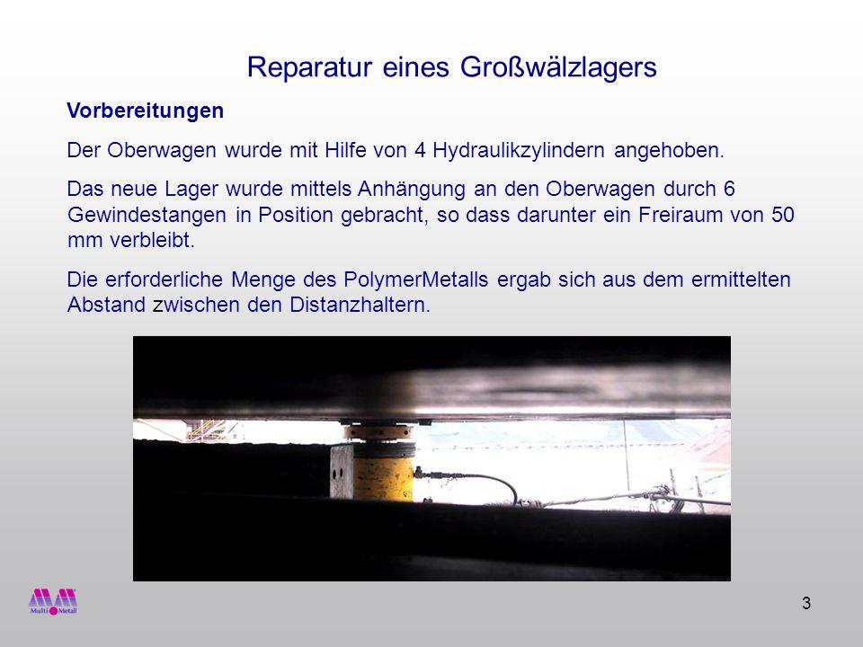 3 Vorbereitungen Der Oberwagen wurde mit Hilfe von 4 Hydraulikzylindern angehoben. Das neue Lager wurde mittels Anhängung an den Oberwagen durch 6 Gew