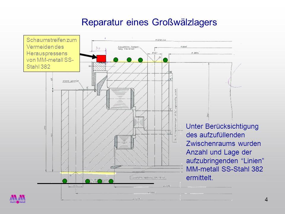 4 Unter Berücksichtigung des aufzufüllenden Zwischenraums wurden Anzahl und Lage der aufzubringenden Linien MM-metall SS-Stahl 382 ermittelt. Schaumst