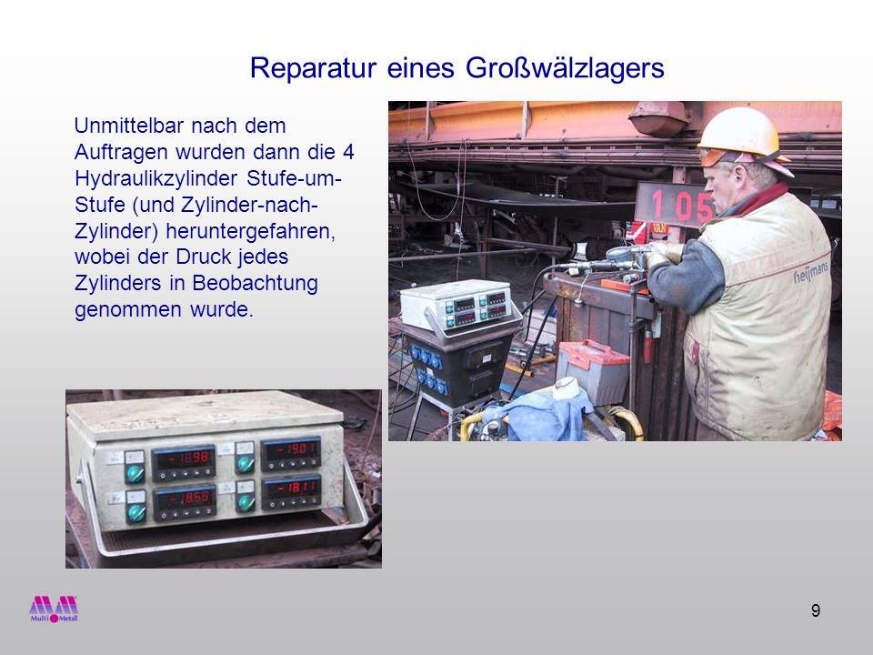 9 Reparatur eines Großwälzlagers Unmittelbar nach dem Auftragen wurden dann die 4 Hydraulikzylinder Stufe-um- Stufe (und Zylinder-nach- Zylinder) heru