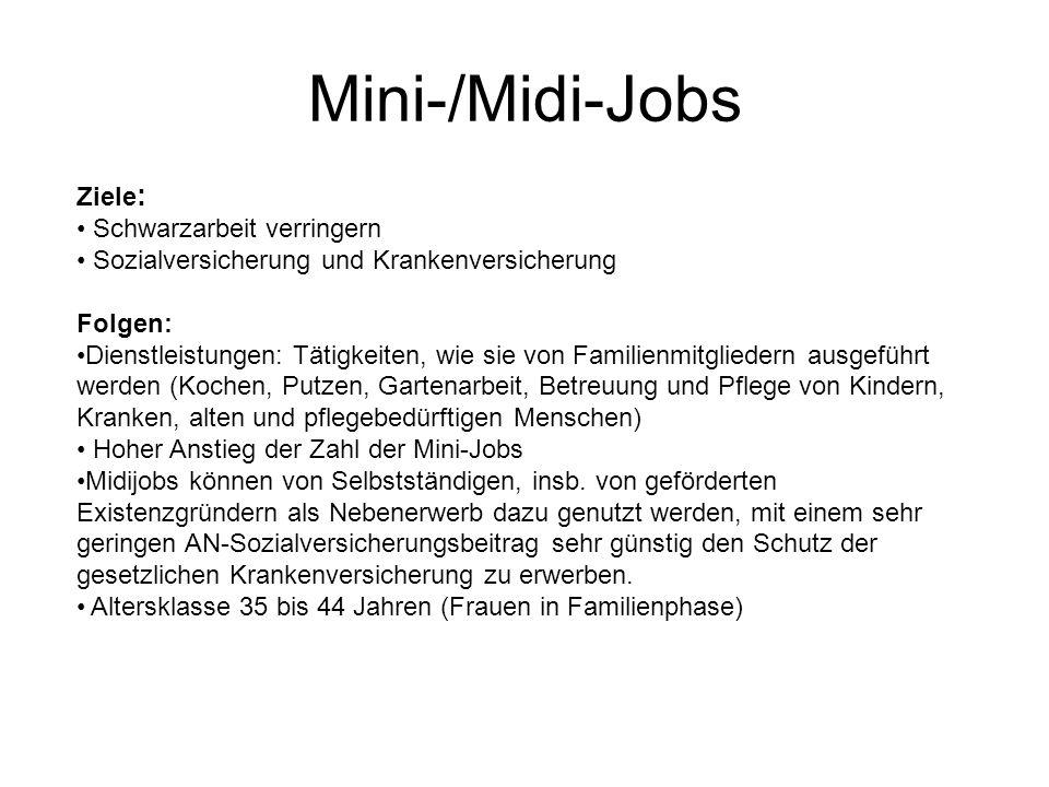 Mini-/Midi-Jobs Ziele : Schwarzarbeit verringern Sozialversicherung und Krankenversicherung Folgen: Dienstleistungen: Tätigkeiten, wie sie von Familie