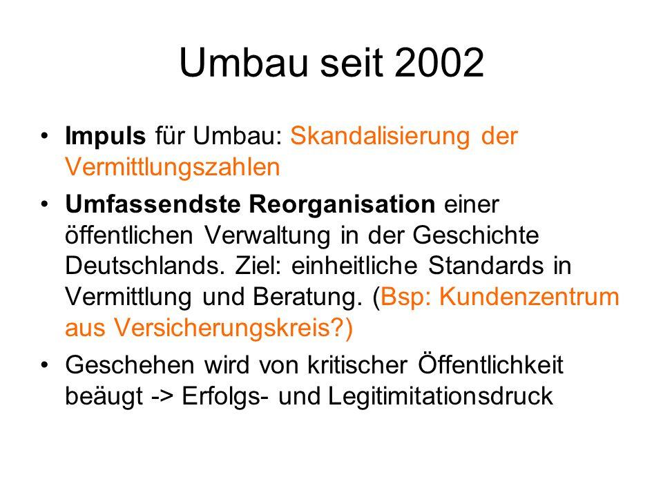 Umbau seit 2002 Impuls für Umbau: Skandalisierung der Vermittlungszahlen Umfassendste Reorganisation einer öffentlichen Verwaltung in der Geschichte D