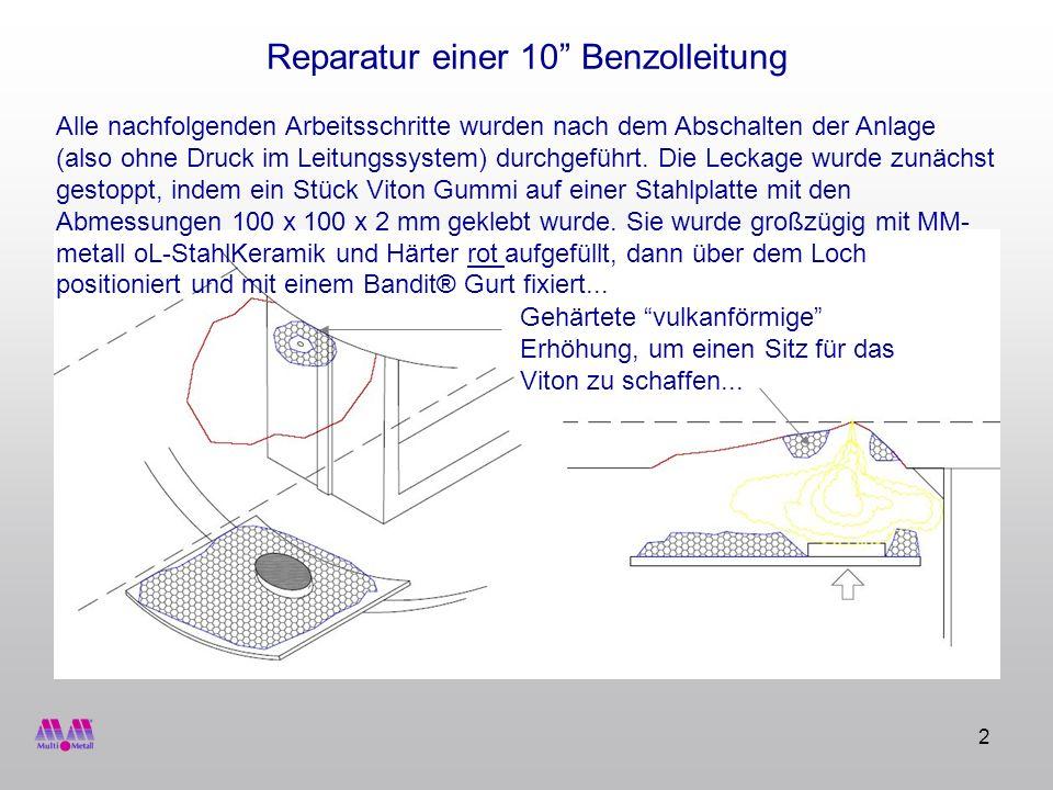 3 Reparatur einer 10 Benzolleitung...und dieses Mal großzügig mit einer Schicht MM- metall oL- StahlKeramik unter Zugabe von Härter gelb bedeckt.