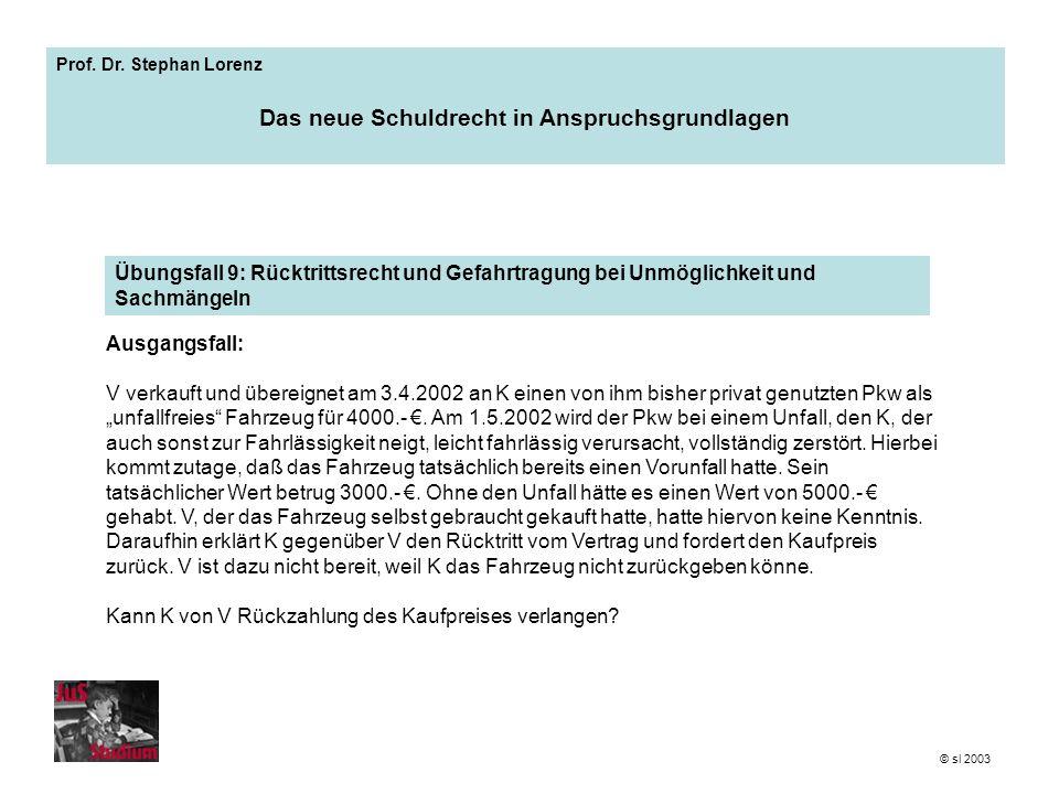 Prof. Dr. Stephan Lorenz Das neue Schuldrecht in Anspruchsgrundlagen Ausgangsfall: V verkauft und übereignet am 3.4.2002 an K einen von ihm bisher pri