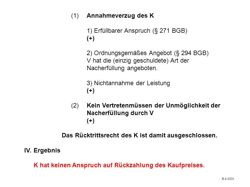 (1)Annahmeverzug des K 1) Erfüllbarer Anspruch (§ 271 BGB) (+) 2) Ordnungsgemäßes Angebot (§ 294 BGB) V hat die (einzig geschuldete) Art der Nacherfül