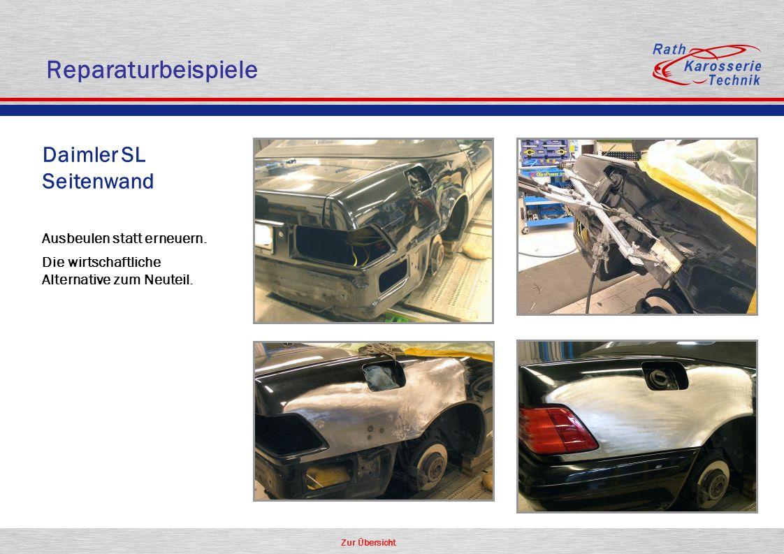 Zur Übersicht Oldtimer Aluminium Daimler SL Seitenwand Ausbeulen statt erneuern. Die wirtschaftliche Alternative zum Neuteil. Reparaturbeispiele