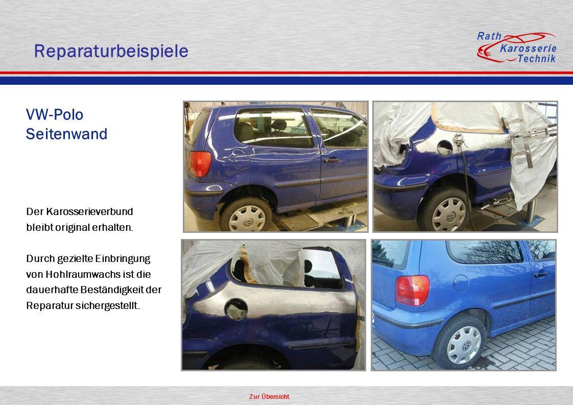 Zur Übersicht VW-Polo Seitenwand Der Karosserieverbund bleibt original erhalten. Durch gezielte Einbringung von Hohlraumwachs ist die dauerhafte Bestä