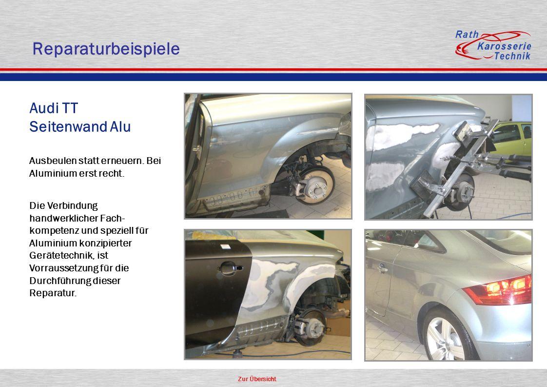 Zur Übersicht Oldtimer Aluminium Audi TT Seitenwand Alu Ausbeulen statt erneuern. Bei Aluminium erst recht. Die Verbindung handwerklicher Fach- kompet