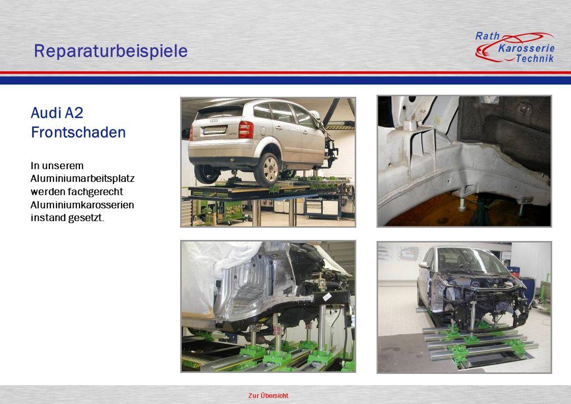 Zur Übersicht Oldtimer Aluminium Audi A2 Frontschaden In unserem Aluminiumarbeitsplatz werden fachgerecht Aluminiumkarosserien instand gesetzt. Repara