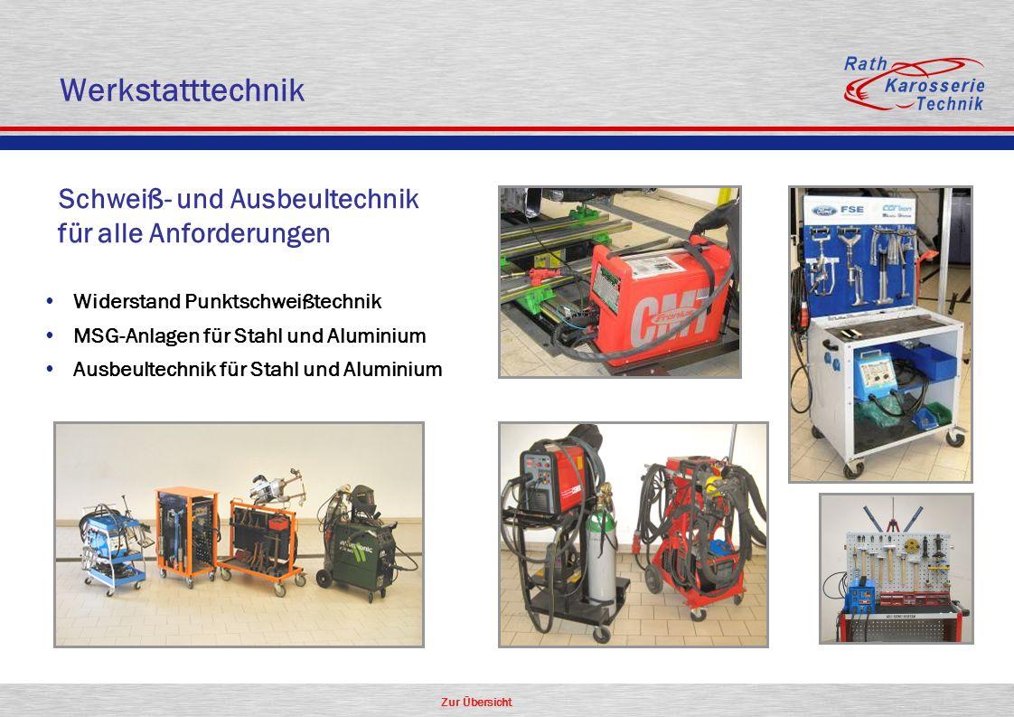 Zur Übersicht Schweiß- und Ausbeultechnik für alle Anforderungen Widerstand Punktschweißtechnik MSG-Anlagen für Stahl und Aluminium Ausbeultechnik für