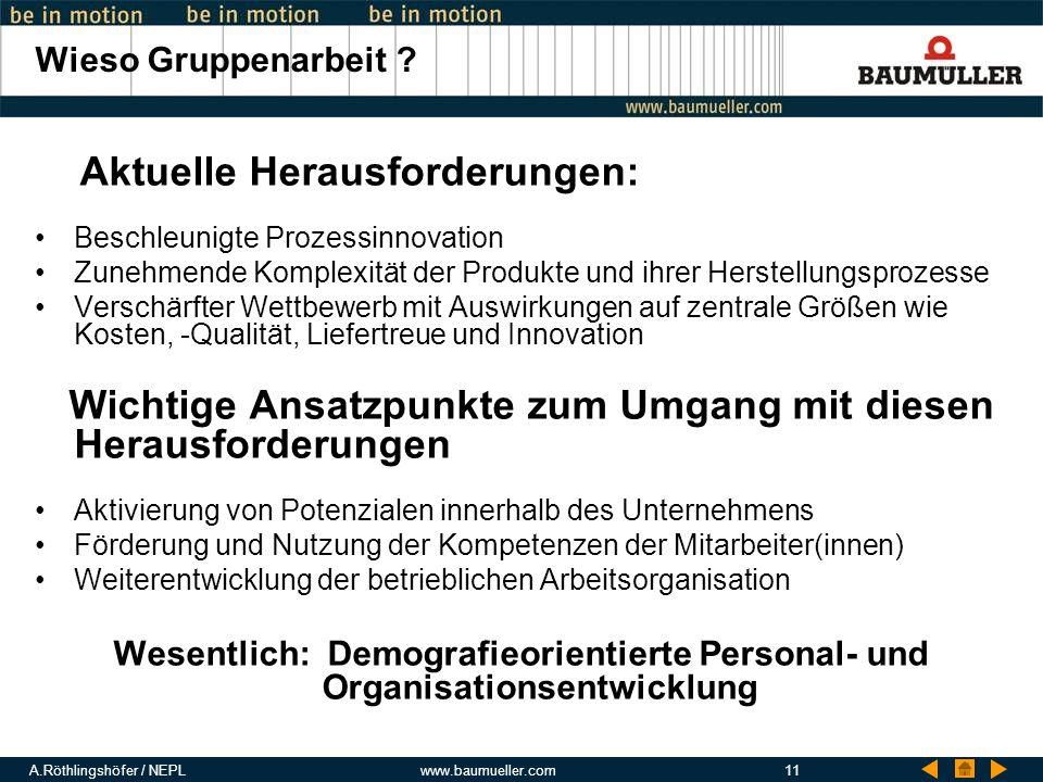 A.Röthlingshöfer / NEPLwww.baumueller.com11 Wieso Gruppenarbeit ? Aktuelle Herausforderungen: Beschleunigte Prozessinnovation Zunehmende Komplexität d